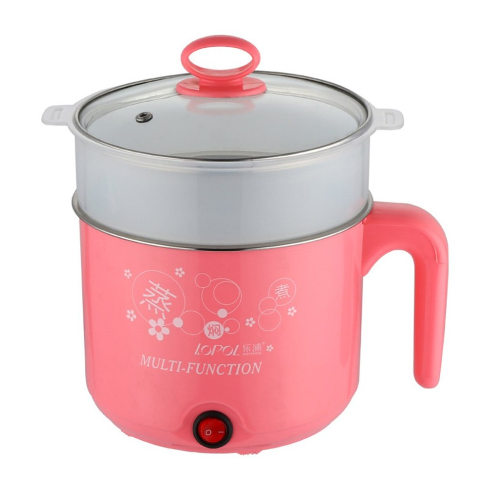 450W 1.8L Multifunction Stainless Steel Electric Cooker with Steamer Hot Pot Noodles Pots Rice Cooker Steamed Eggs Pan Soup Pots title=