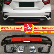 A45 look Diffuser+304 Stainless Steel 4-Outlet Exhaust Tip For Mercedes Benz W176 A180 A200 Sports Edition Rear Diffuser Lip 16+