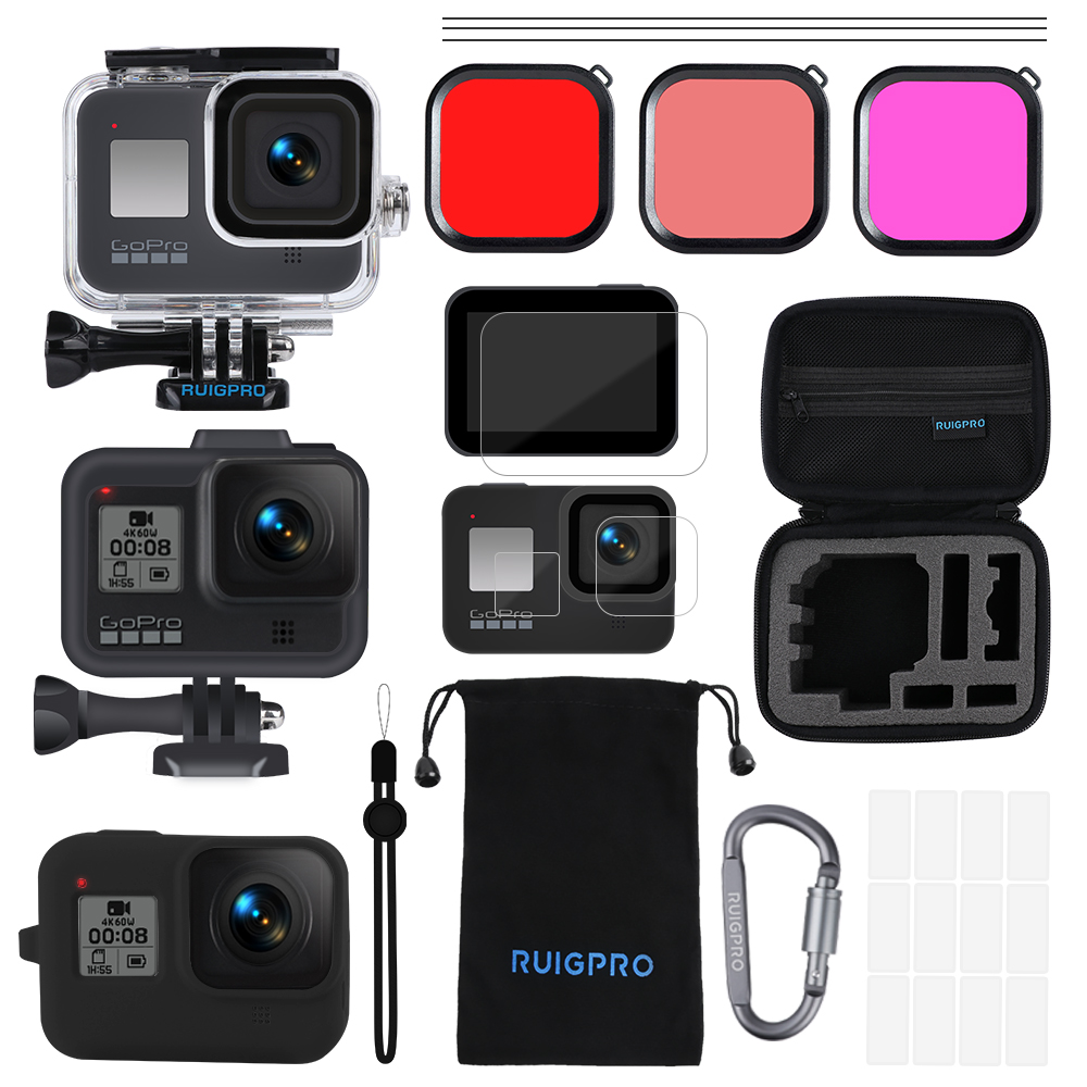 For Gopro Accessories Set Go Pro Hero 8 Kit EVA Case Tempered Film Waterproof Housing Case Red Filter Frame Silicone Protector