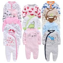 5pcs 3pcs ทารกแรกเกิดทารกเด็กสาว Rompers Roupa de bebe ทารกแรกเกิด Jumpsuit แขนยาวผ้าฝ้ายชุดนอน 0 12Month Overalls ทารกเสื้อผ้า