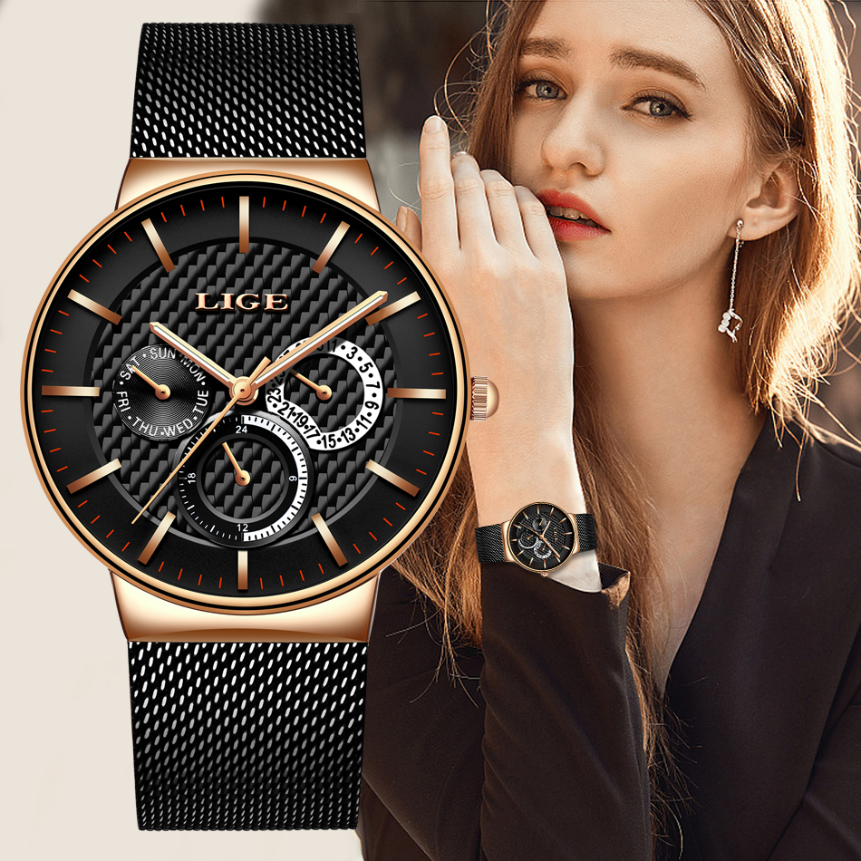 LIGE Fashion Casual Lady Watch Gold Stainless Steel Quartz Laides Watches Women Calendar Waterproof Girl Clock Relogio Feminino