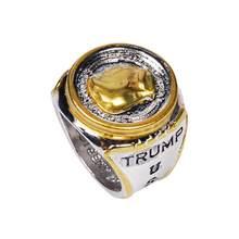 Personalidade dos eua presidente trump estátua anéis comemorativos moda dois tons moeda alta jóias acessórios lembrança presente