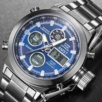 AMST Uhr Männer Edelstahl Militär Uhr Wasserdichte Armbanduhr LED Quarz Uhr Sport Uhr Männlichen Relogios Masculino Blau