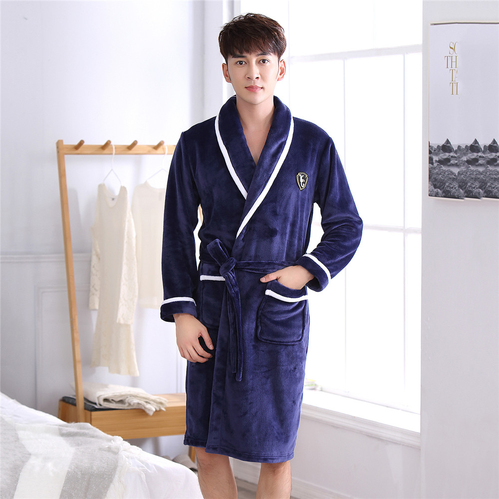 Men Full Sleeve Home Dressing Clothes Negligee V-Neck Robe Gown Sleepwear With Belt Long Nightwear Winter Warm Home Clothing