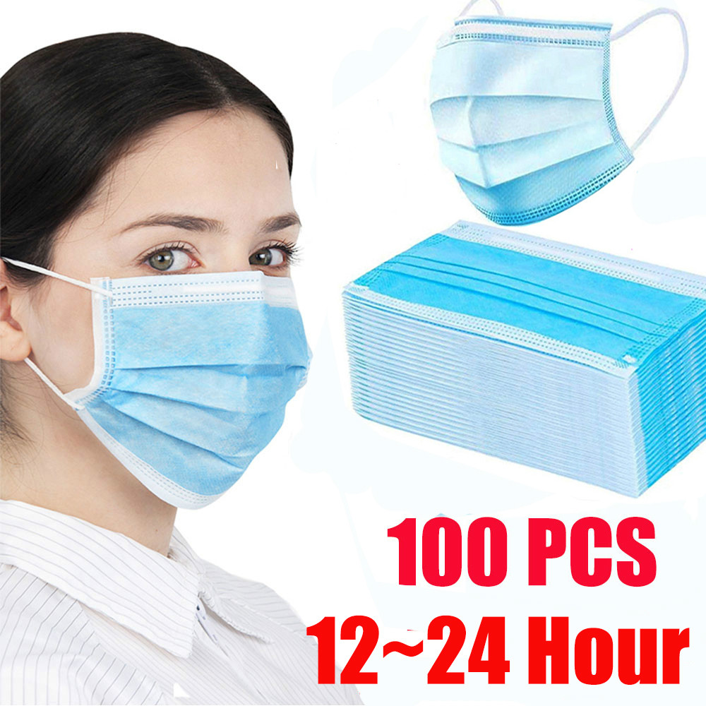 50/100pcs Masks Disposable Face Mouth Mask Three-layer Non-woven Protective Maska Protective Face Mask Tapabocas