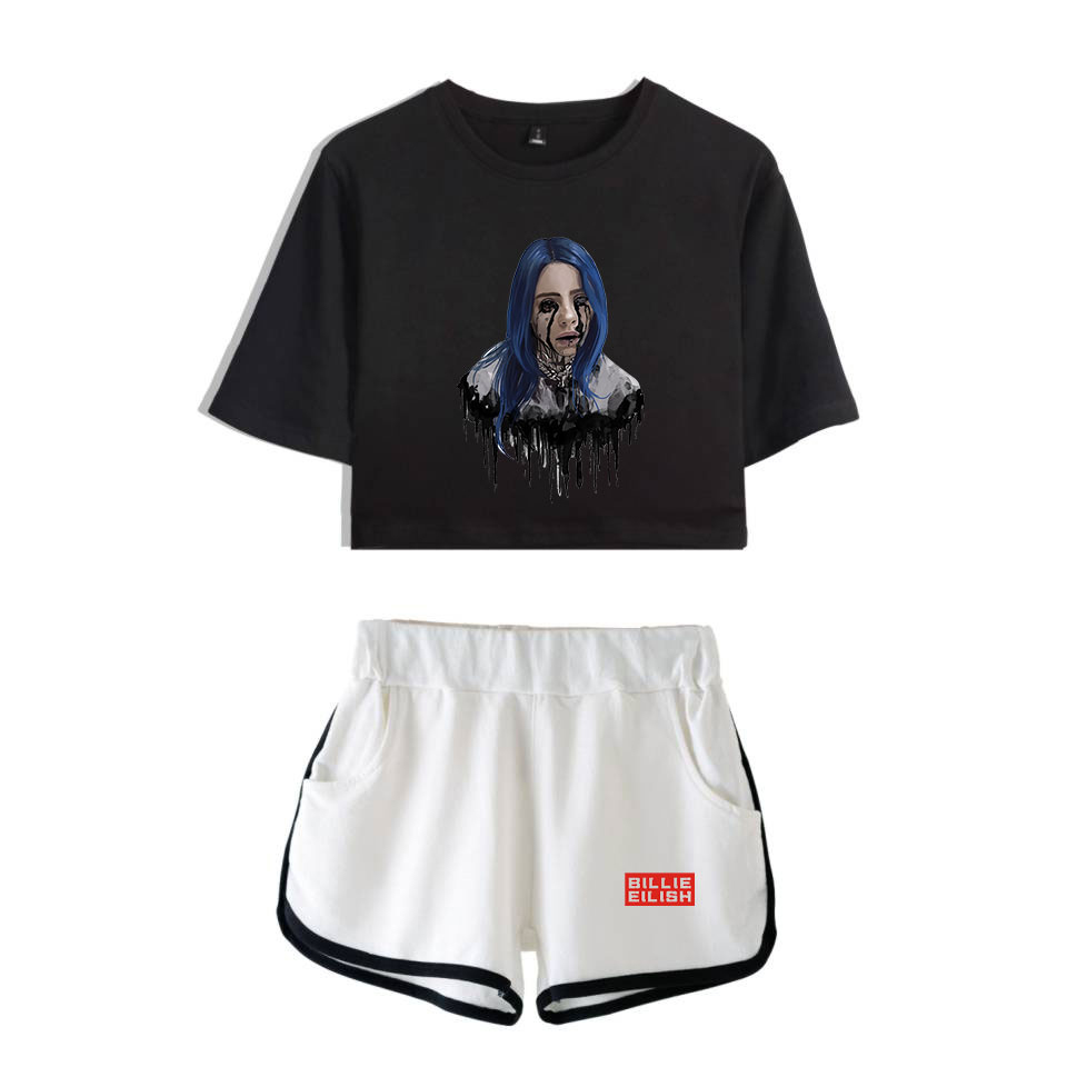 Popular New To Billie Eilish Black Short Belly Button T-shirt + White Shorts Fashion Women Casual Cotton Girl Two-piece