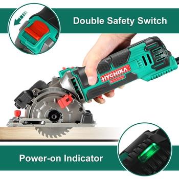 HYCHIKA 500W Electric Mini Circular Saw With Laser 120V 220V Multifunctional Electric Saw DIY Power Tool For Cut Wood,PVC tube 2