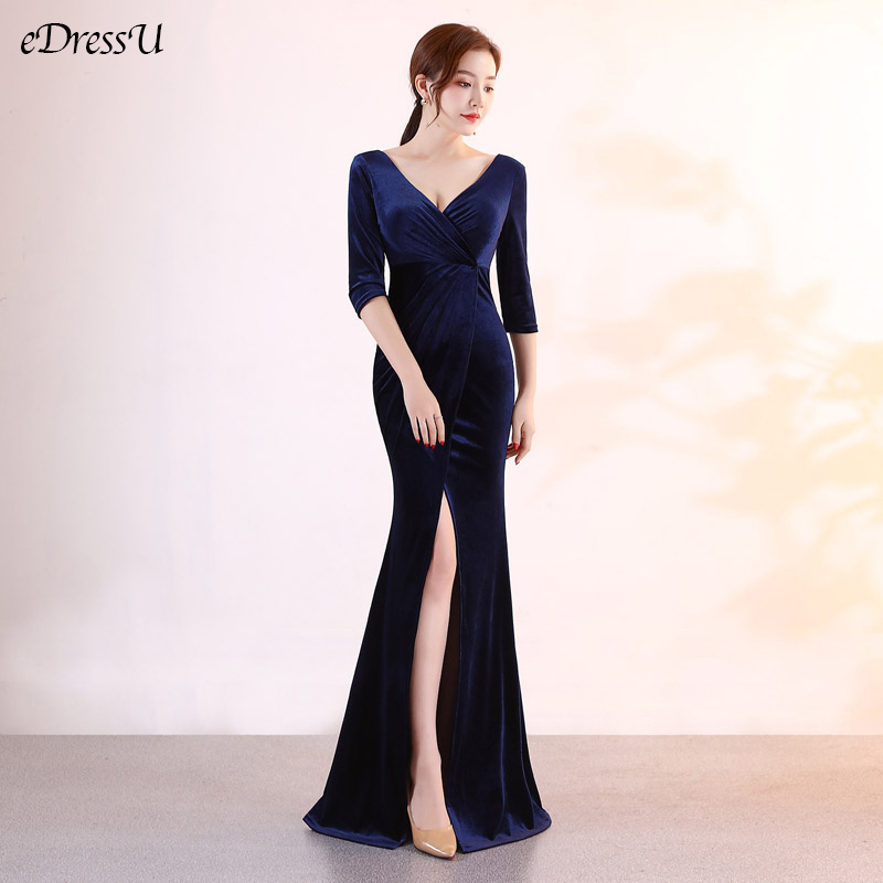 2020 Velvet Evening Dress Sexy Slit Party Dress Dark Blue Mermaid Vestido de Fiesta Robe de Soiree Formal Prom Dress YNY-1553