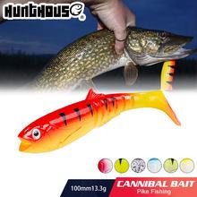 Iscas cannibal hunthouse pesca shad 100mm 13.3g wobblers silicone sem-fim artificial baixo chamariz leurre pescar