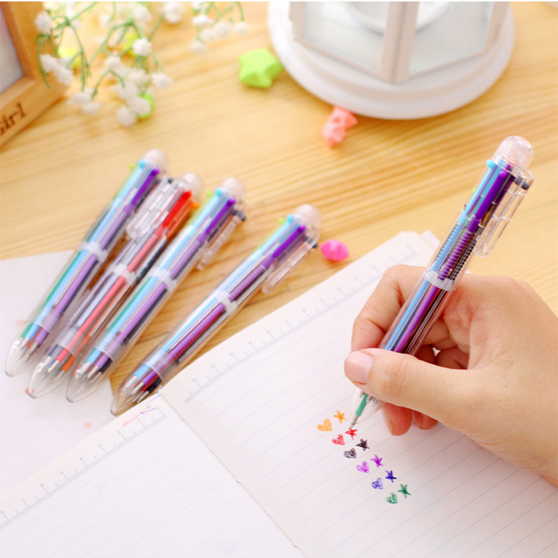 3pcs/Lot 6 In 1 Colorful Pens Novelty Multicolor Ballpoint Pen Stationery School Boligrafo Supplies