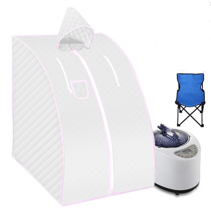 Sauna portátil com cadeira dobrável casa banho de sauna a vapor 1000 w 2l vapor banho sauna caixa facilidade insônia tubo de aço inoxidável apoio