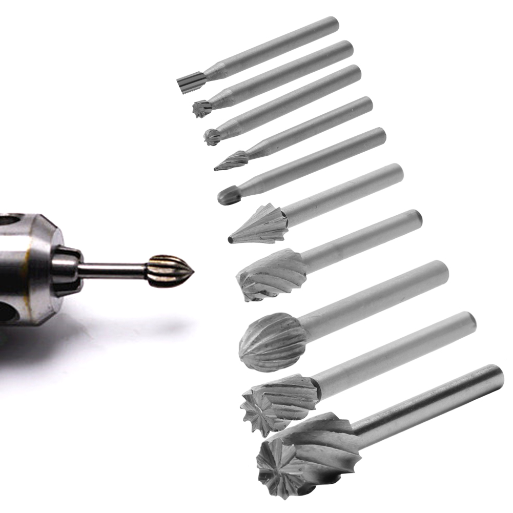 10PC/Set Rotary File Electric Grinding Polishing Head Engraving Cutter DIY Wood Tool