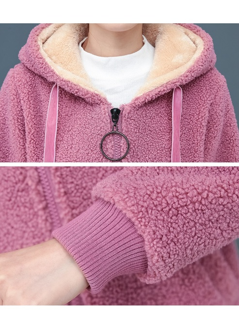 2019 Winter Faux Fur Teddy Coat Women Fashion hooded Add velvet to thicken zipper jacket fashionable and casual plus-size coat 5