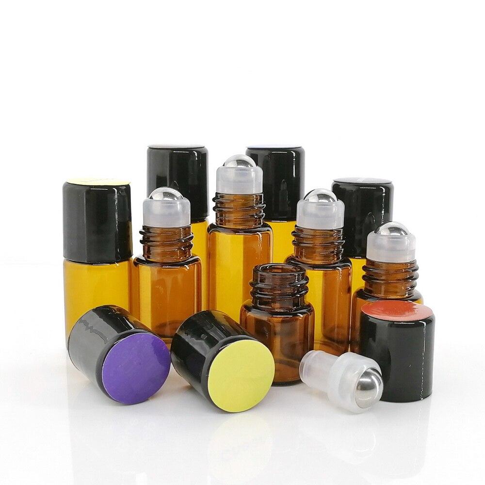 24pcs 1ml 2ml 3ml Amber Glass Roll On Bottles Empty Stainless Steel Roller Ball Sample Vials For Essential Oils Perfume Travel