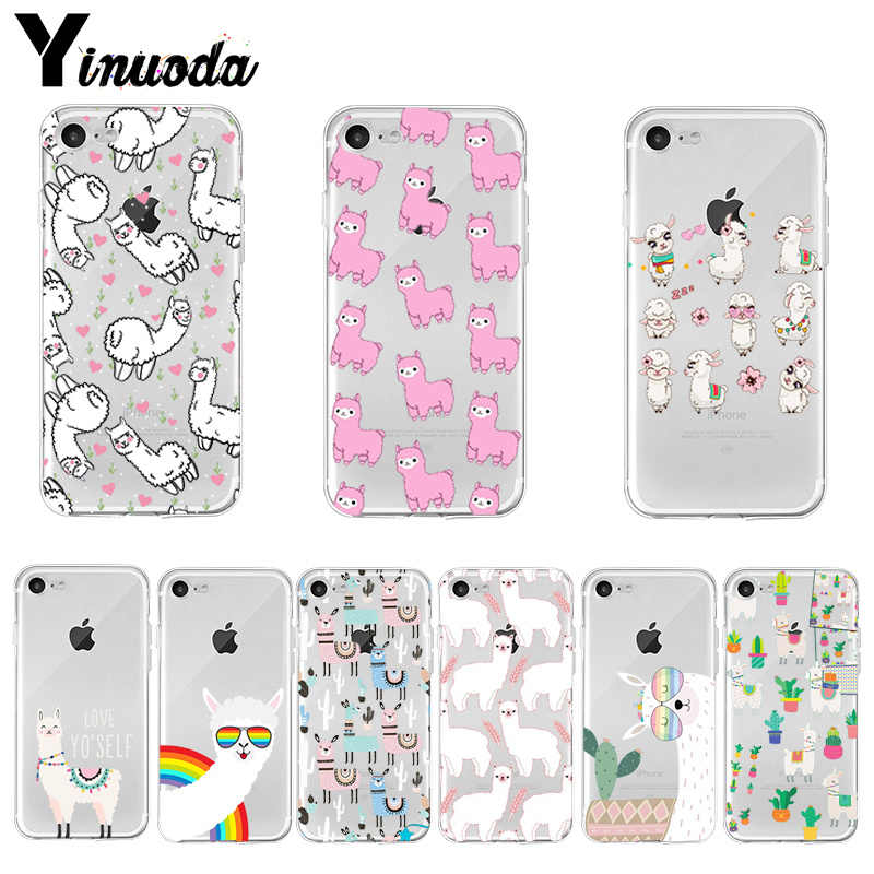 Yinuoda Kawaii Cute Llama Alpaca Animals Cartoon Colorful Phone case for Apple iPhone 8 7 6 6S Plus X XS max 5 5S SE XR Cover