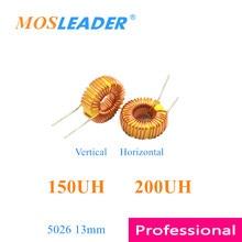 Mosleader 100 pces 5026 150uh 200uh 13mm vertical horizontal tipo indutores de anel amarelo e branco
