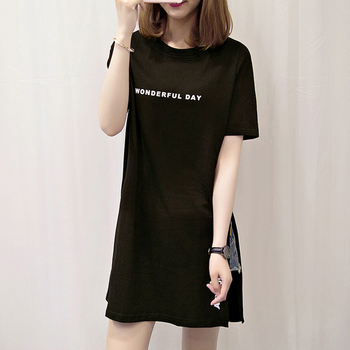 Black T Shirt Women Casual Letter Print T-shirt Split tops Summer O Neck Short Sleeve Long T-Shirt letter print drop shoulder t shirt