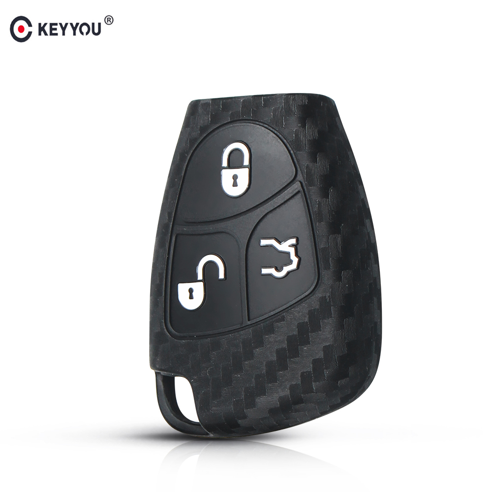 KEYYOU Car Silicone Key Cover Case Shell For Mercedes For Benz W203 W211 CLK C180 E200 AMG C S Class Keyring Holder Accessories