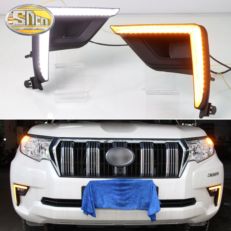 LED Daytime Running Light For <font><b>Toyota</b></font> Land Cruiser <font><b>Prado</b></font> FJ150 2018 <font><b>2019</b></font> Car <font><b>Accessories</b></font> Waterproof 12V DRL Fog Lamp Decoration image