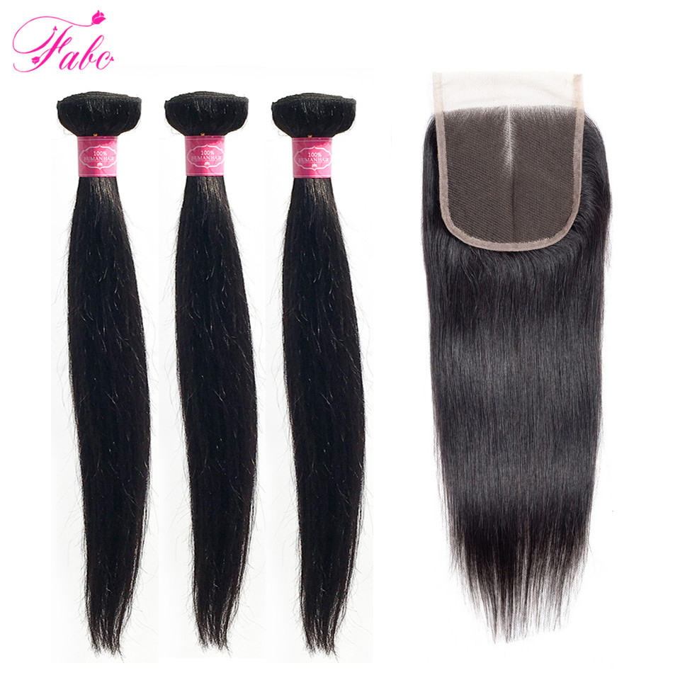 Fabc Hair Peruvian Straight Hair Bundles With Lace Closure Middle Part 3 Bundles With Closure Natural Black Human Hair Non remy-in 3/4 Bundles with Closure from Hair Extensions & Wigs