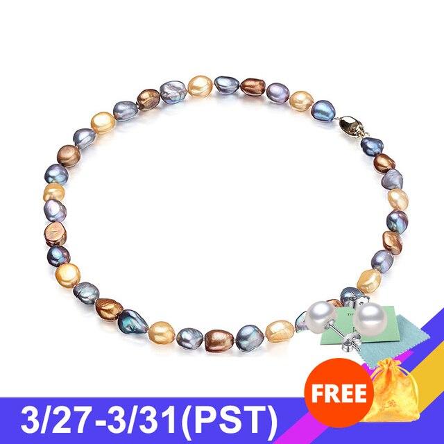 ¡Novedad! collar barroco único 100% joyería de perlas naturales de agua dulce gargantilla de perlas de lujo Collar para mujer