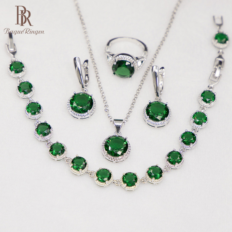 Bague Ringen Round Emerald Silver 925 Jewelry Set Gemstones Trendy Women's Wear Jewelry Bracelet Necklace Ring Earrings Party