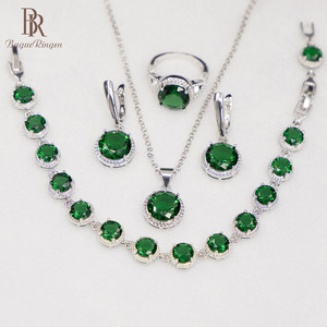 Bague Ringen Round Emerald Silver 925 Je