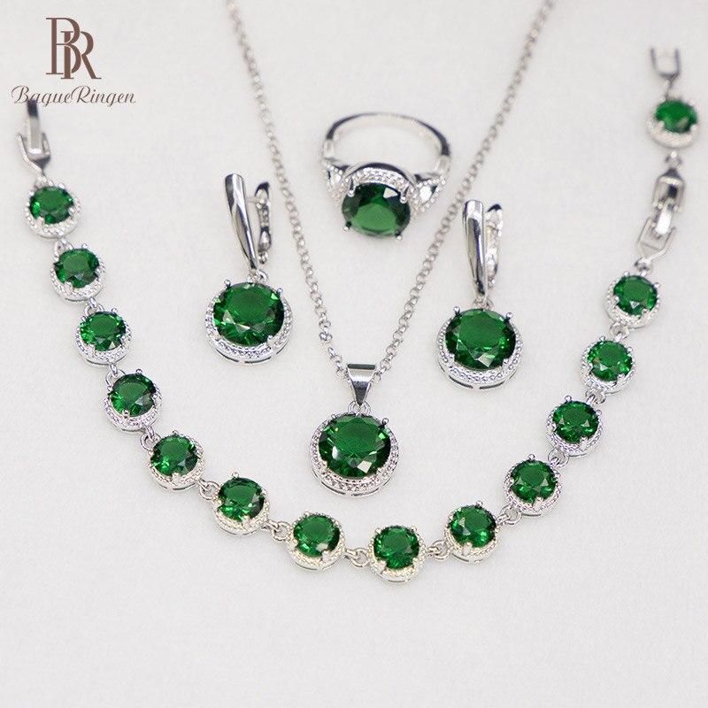 Bague Ringen Round Emerald Silver 925 Jewelry Set Gemstones Trendy Women's Wear Jewelry Bracelet Necklace Ring Earrings Party