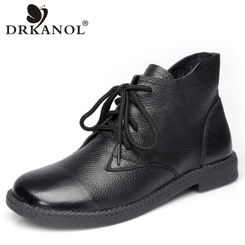 DRKANOL New 2019 Women Martin Boots Autumn Round Toe Genuine Leather Ankle Boots For Women Flats Short Boots Ladies Casual Shoes-in Ankle Boots from Shoes