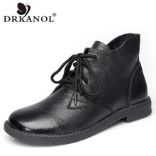 DRKANOL New 2019 Women Martin Boots Autumn Round Toe Genuine Leather Ankle Boots For Women Flats Short Boots Ladies Casual Shoes