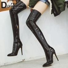 DORATASIA New Plus Size 33-46 Brand Thigh High Boots Pointed Toe High Heels Shoes Woman Party Sexy Over The Knee Boots Women morazora 2018 big size 33 46 over the knee boots women flock sexy thigh high boots high heels shoes pointed toe autumn boots