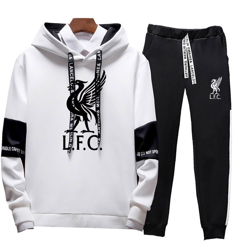 2020 New Liverpool Printed Football Sports Hooded Sweatshirt Men Fashion Trend Hip Hop Sportswear + Casual Pants Sports Suit