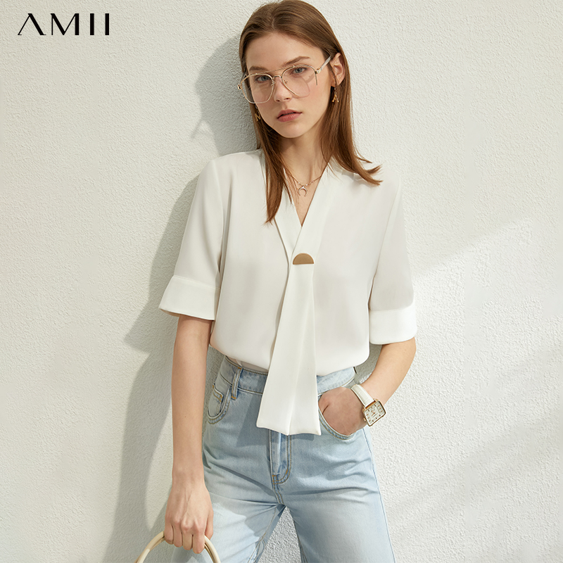 AMII Minimalism Spring Summer New Bow Neck Solid Women Tops Causal Short Sleeves Loose Olstyle Female Blouse 12030226