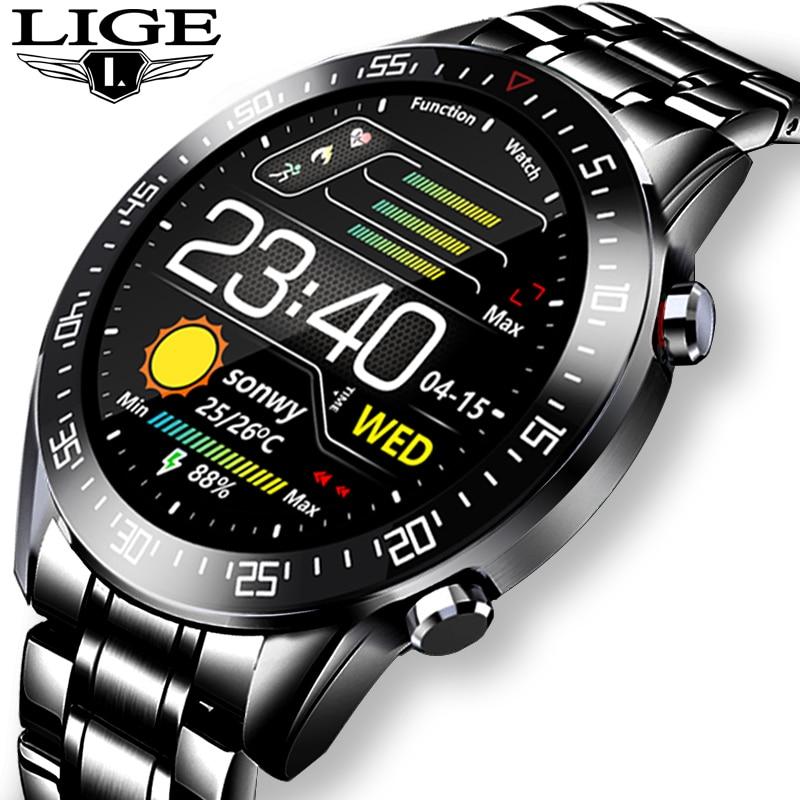 LIGE çelik bant tam dokunmatik ekranlı akıllı saat erkekler çok fonksiyonlu kalp hızı kan basıncı IP68 su geçirmez spor Smartwatch