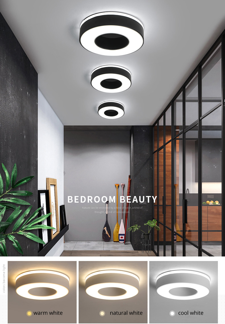 H6d72056ff3d04be5b725ef5f80c9fab5Z Living Room Ceiling Lights | Drop Ceiling Lights | LED Ceiling Light Corridor Art Gallery Decoration Front Balcony Lamp Porch White Black Power 18W