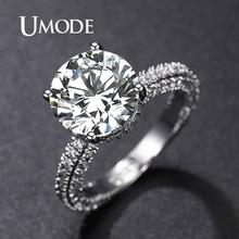 UMODE White Gold Color Wedding Rings for Women Bijoux Ring AAA Jewelry Bague Accessories Femme Engagement Gift Girls UR0574A