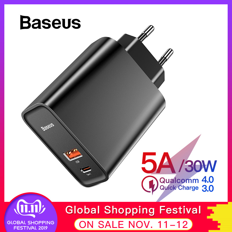 Baseus Quick Charge 4.0 3.0 USB Charger For Redmi Note 7 Pro 30W PD Supercharge Fast Phone Charger For Huawei P30 iPhone 11 Pro-in Mobile Phone Chargers from Cellphones & Telecommunications