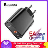 Chargeur rapide Baseus 4.0 3.0 USB pour Redmi Note 7 Pro 30W PD chargeur de téléphone rapide pour Huawei P30 iPhone 11 Pro