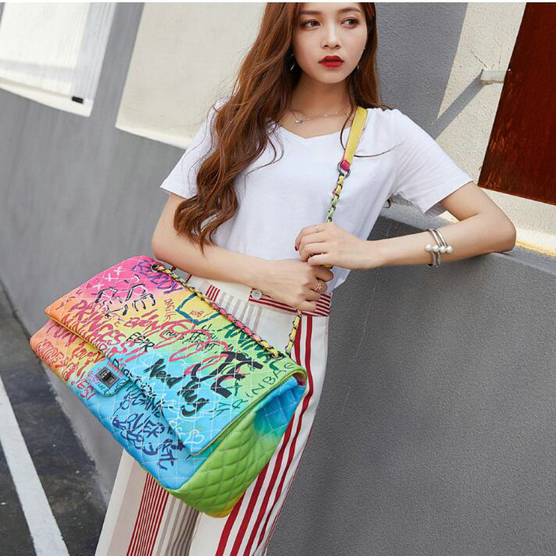 Image 4 - Women Bag 2019 New Color Graffiti Printed Shoulder Big Bags 
