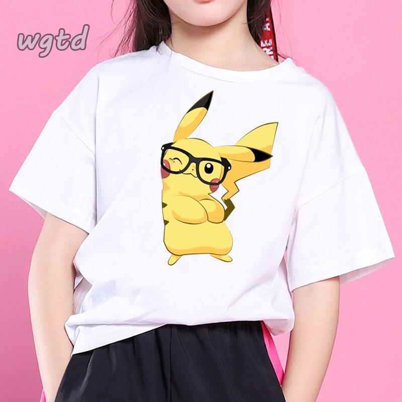 Pokemon Kawaii Pikachu Funny Children T Shirt Girls Anime T-shirt Cute Pika Cartoon Boy Tshirt Casual Girl Top Tees Kids Clothes
