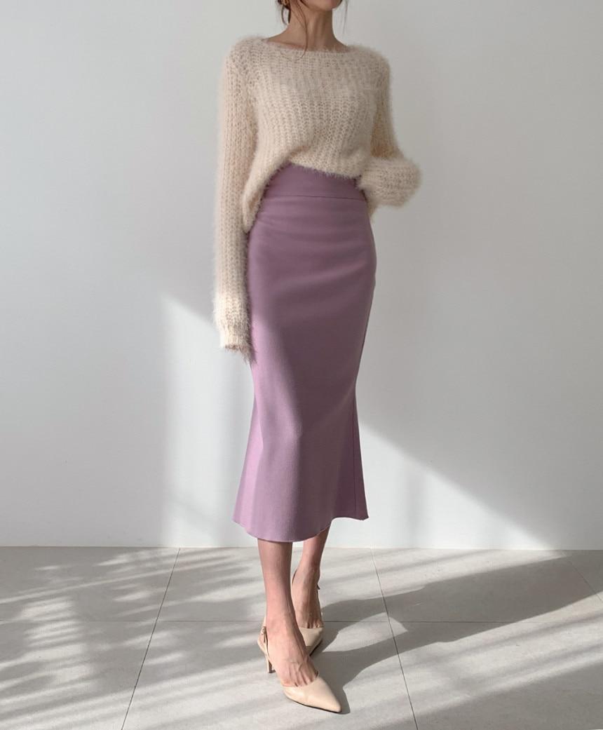 Elegant Office Lady Skirt Women Trumpet Mermaid Vintage Skirts  Bodycon High Waist Skinny Ruffles Female Midi Skirts