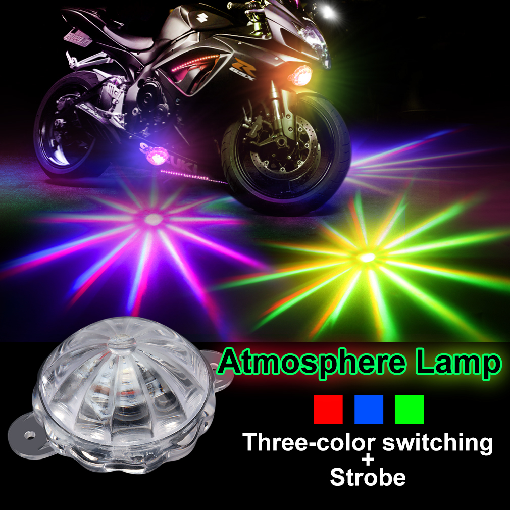 Motorcycle Decorative Lamp RGB Atmosphere Lamp Car Led Decoration Lamp 12V Moto Chassis Light Motorbike Flash Strobe Light