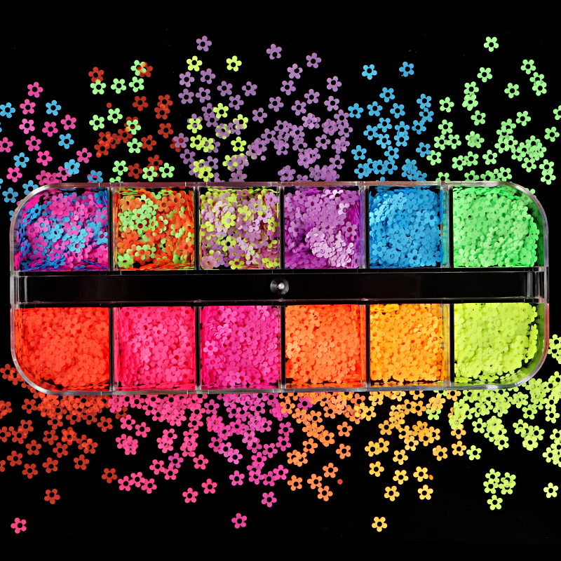 Mix Colors 4MM Neon Flower Design Nail Art Decorations Fluorescence Sequins Flakes Slices Holiday Polish Manicure Nail Glitter