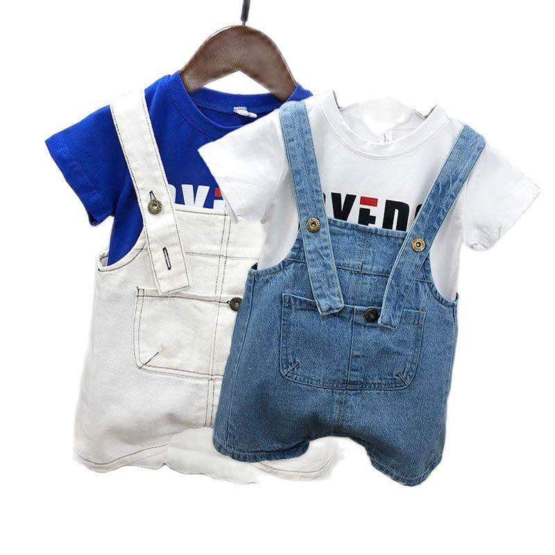 2021Summer Children Kids Denim Overalls Boys Jeans Cotton T-shirt Suit Denim Baby Jumpsuit Casual Loose Overalls Cute Suspenders