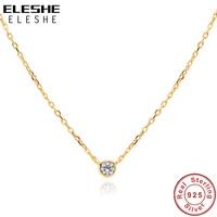 ELESHE Tiny CZ Kleine Runde Halskette Anhänger Für Frauen 100% 925 Sterling Silber Einfache Halskette mit 18K Gold Überzogene feine Schmuck