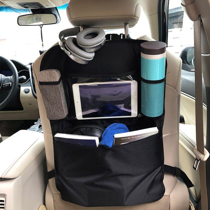 Car Back Seat Organizer Front Seat Storage Kids Pocket Bag Auto Travel Kick Mat K4UE