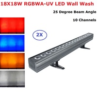 2Pcs DMX Bar Light 18X18W RGBWA UV 6IN1 LED Wash Wall Lights DMX512 Washer /Flood Light DJ /Bar /Party /Show /Stage Effect Light