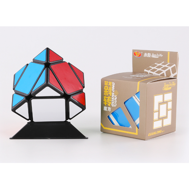Yongjun Guanlong Skew Magic Cube Puzzle Cube Professional Speed Cubo Magico Educational Toys For Students  - Black/White