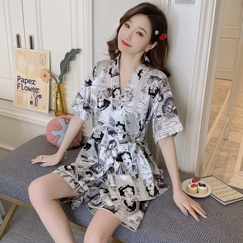 2019 Hot Summer Silk Satin Shorts Kimono Pajama Set For Women Short Sleeve V-neck Pyjama Sleepwear Homewear Pijama Mujer Clothes