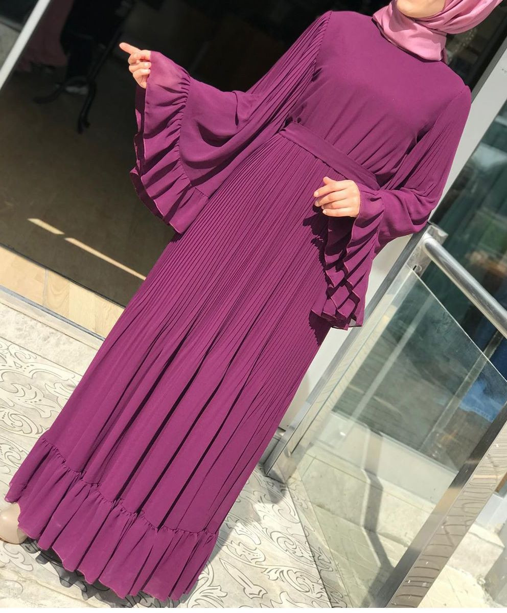 Designer Muslim Women Ruffle Pleated Chiffon Fashion Dresses(no Hijab)